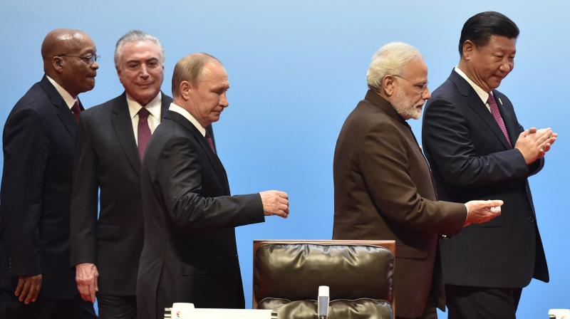 BRICS leaders from left to right, South Africa's President Jacob Zuma, Brazilian President Michel Temer, Russian President Vladimir Putin, Indian Prime Minister Narendra Modi, and Chinese President Xi Jinping attend BRICS Business Council and Signing ceremony, at the BRICS Summit in Xiamen. (Photo: AP)