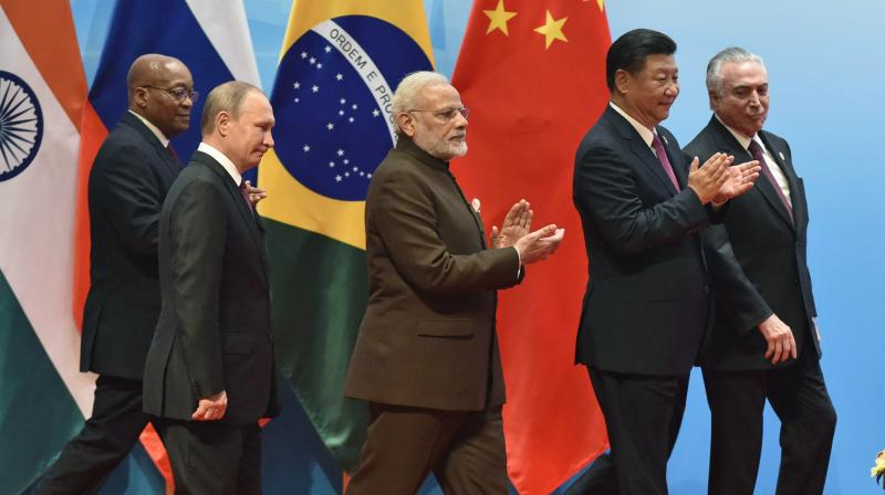 BRICS leaders from right to left, Brazilian President Michel Temer, Chinese President Xi Jinping, Indian Prime Minister Narendra Modi, Russian President Vladimir Putin, and South Africa's President Jacob Zuma attend BRICS Business Council and Signing ceremony, at the BRICS Summit in Xiamen, Fujian province, China, Monday. (Photo: AP)