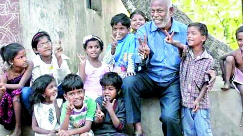 D. Prakash Rao with his students in Cuttack.