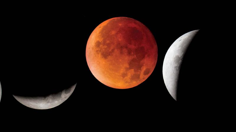 It is called a 'blood moon' as the moon gets a rusty orange or deep red colour when the sunlight is scattered through the Earth's atmosphere.