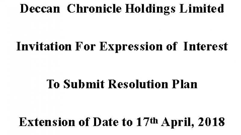 DCHL EOI Extension Advt Dated 2nd April, 2018
