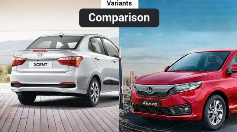 2018 Honda Amaze Vs Hyundai Xcent Variants Comparison