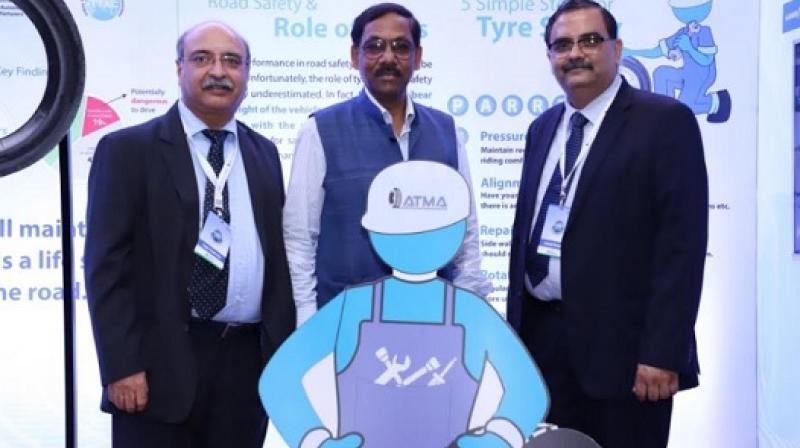 Mr. Anil Srivastava at Tyre Safety Pledge pavilion with Mr Ashish Pandey and ATMA DG Mr. Rajiv Budhraja