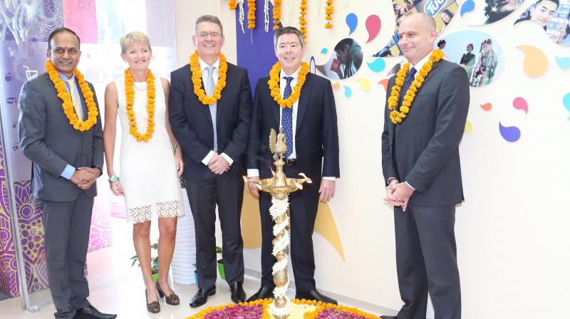 (L to R) Deepak Iyer, MD, Mondelez India, Michelle Pickering, Vice President Research Development & Quality - Chocolate, Mondelēz International, Rob Hargrove, EVP, Research,Tim Cofer, Chief Growth Officer, Mondelēz International, Maurizio Brusadelli, EVP and President AMEA.