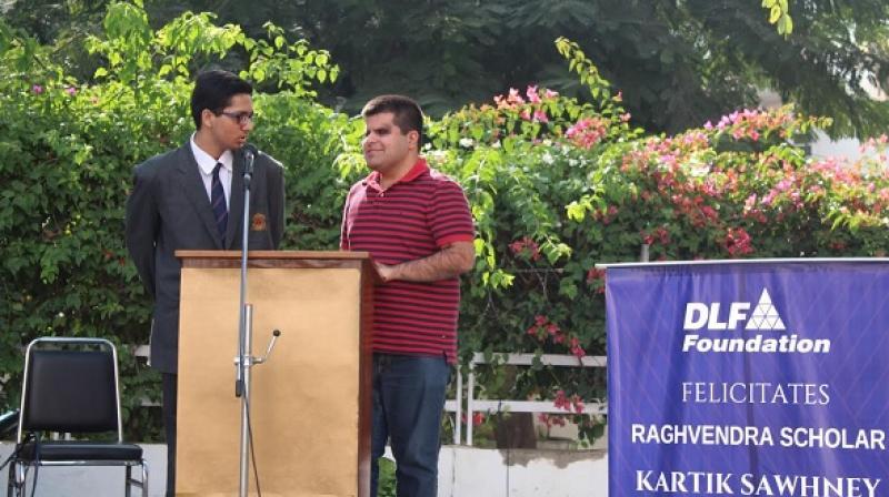 DLF Foundation's Scholar Kartik Sawhney delivering a motivational talk at Summer Fields school Gurugram