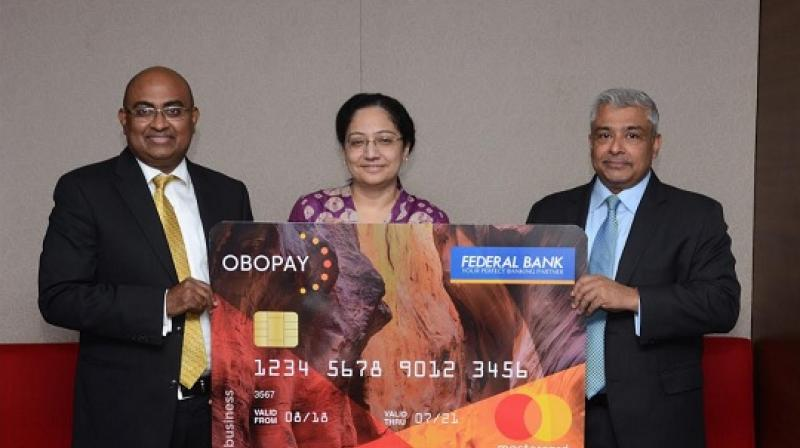 L to R - Shailendra Naidu, CEO, OBOPAY with Nilufer Mullanfiroze, Senior Vice President, Federal Bank and Vikas Varma, Senior Vice President, South Asia, Mastercard