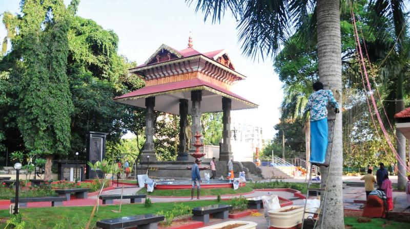 The spruced-up Vivekananda Park at Kowdiar which would be thrown open to public on Monday. (Photo: DC)