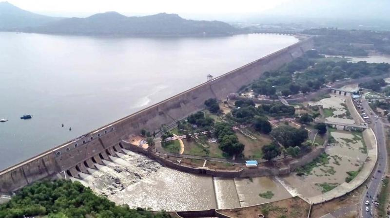 Water gushes out of Mettur dam on Sunday. (Photo: DC)