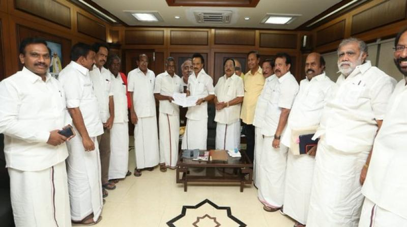 DMK president MK Stalin last month announced to give 10 Lok Sabha seats to Congress in Tamil Nadu including Puducherry wherein all 40 seats are at stake. (Photo: ANI)