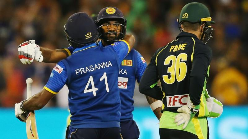 Chamara Kapugedera smashed a four off the last ball to give Sri Lanka a thrilling five-wicket victory over Australia. (Photo: CA)