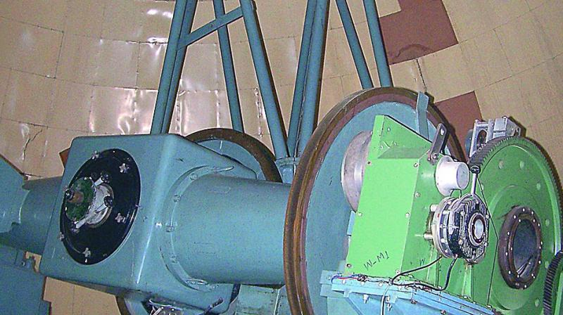 A picture of the telescope at the Japal-Rangapur observatory.