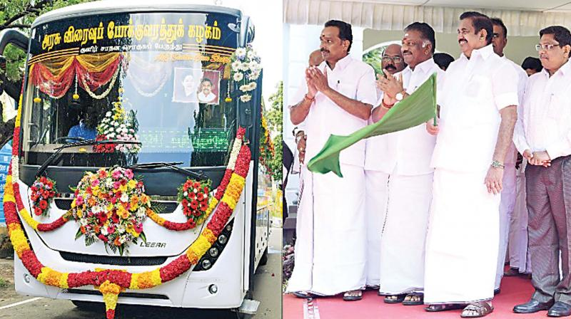 Chief Minister Edappadi K Palaniswami flags off new buses on Thursday. Deputy Chief Minister O.Panneerselvam and transport minister M. R. Vijayabaskar are also seen. (Photo: DC)