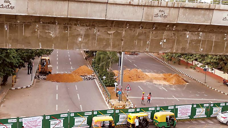A part Kamraj Road will remain  closed to traffic  for the construction of  an underground metro station.