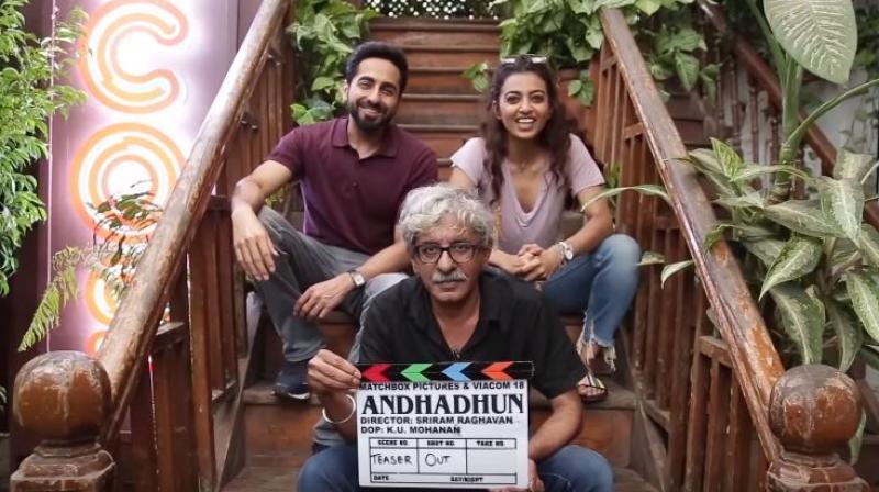 Ayushmann Khurrana, Radhika Apte and Sriram Raghavan in 'AndhaDhun' announcement video.