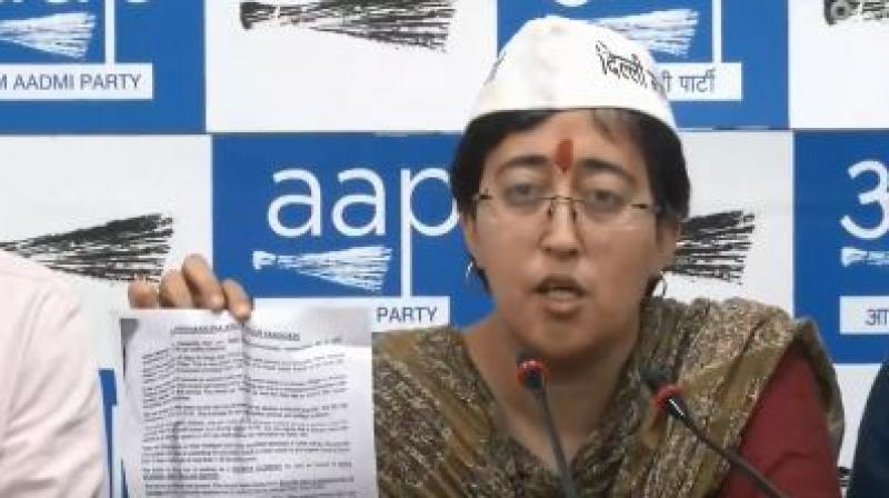 AAP's East Delhi candidate Atishi in the press conference. (Photo: ANI)
