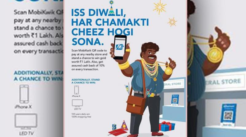 This Diwali, users of Indian mobile wallet major, MobiKwik can win gold worth Rs 1 lakh onQR Codetransactions. (Photo: ANI)