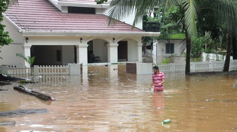 A semi-submerged house in Kalamasserry near Kochi