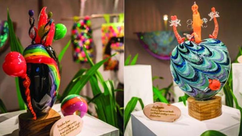 Glass artworks by designer Manish Arora on display at a recent exhibition