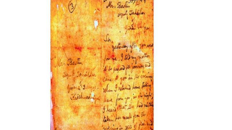 Letter by Alluri Seetharama Raju to Bastin, Dy Tahsildar, Gooden Taluq, Krishna Devi Peta.
