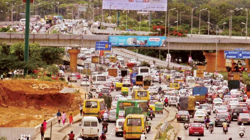 Crowded Hebbal fly over in Bengaluru on Saturday (Image: KPN)