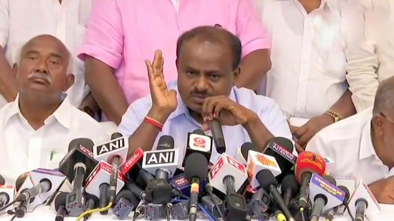 JD(S) leader H D Kumaraswamy said that he has an 'offer' from the BJP, but he will not 'betray' his father Deve Gowda again. (Photo: ANI | Twitter)