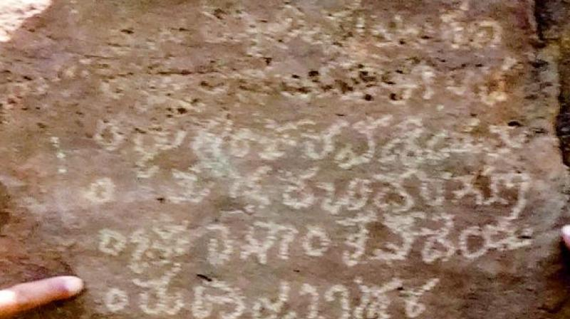 The outcrop rocks on which the Kannada inscriptions are engraved. (Photo: DC)