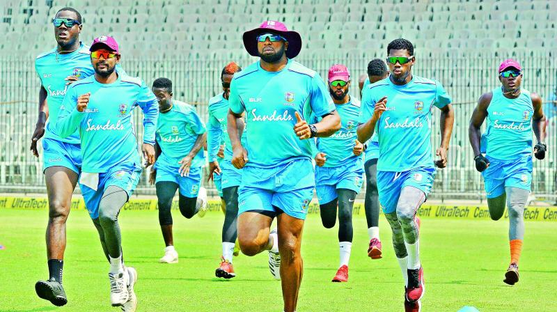 West Indian cricketers during a training session in Chennai on Saturday. (Photo: E.K. Sanjay)