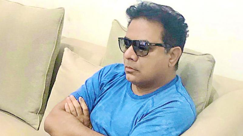 TRS working president K.T. Rama Rao tweeted this picture saying down with viral conjunctivitis, grounded for next 3-4 days, lots of binge-watching is happening.