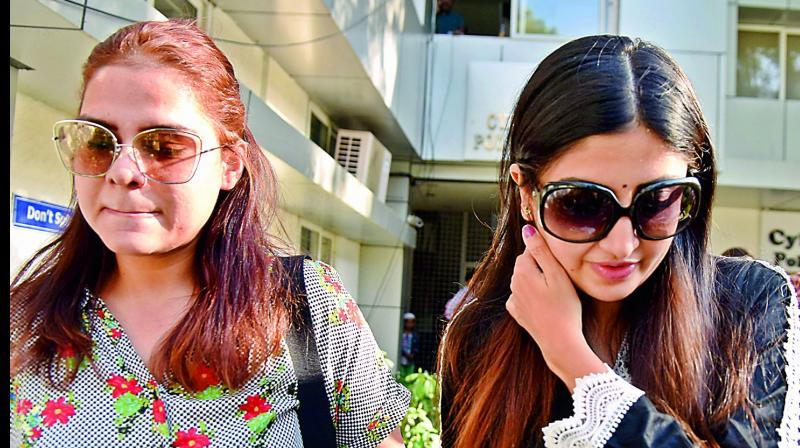 Telugu actor Poonam Kaur after lodging a complaint with Hyderabad cyber crime police on Tuesday. (Image DC)