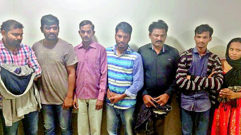 The suspects who were arrested for allegedly extorting money from various business firms. (Photo: DC)
