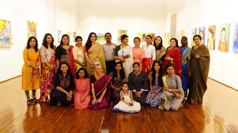 The artists whose works have been exhibited at Red Dot along with curator Suresh T.R. and Lakshmi Menon