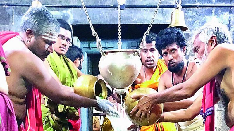 Priests perform abhishekam to the Sivalingam of Lord Bhimeswara swamy on the occasion of Mahashivaratri at Draksharamam temple in East Godavari on Monday. (Photo: DC)