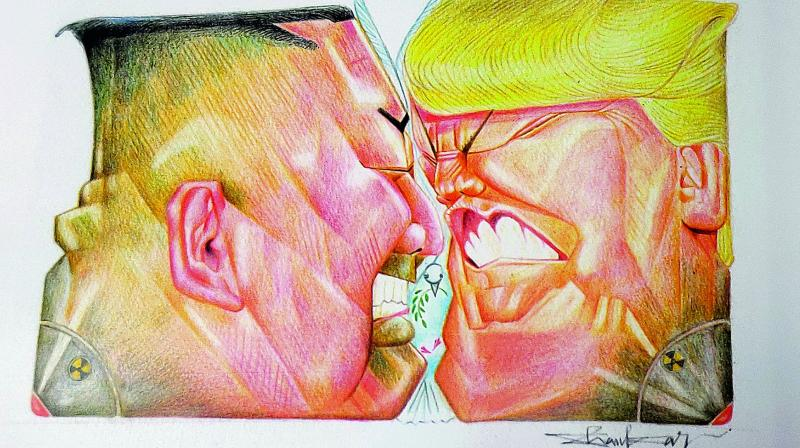 Caricature by Shankar Pamarthy depicting North Korean President Kim Jong and US President Donald Trump at logger heads over nuclear deals.