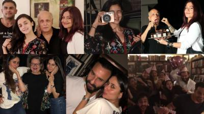 Mahesh Bhatt and Kareena Kapoor Khan celebrated their back-to-back birthdays around the same time with their family late Thursday in Mumbai. (Photos: Viral Bhayani/ Instagram)