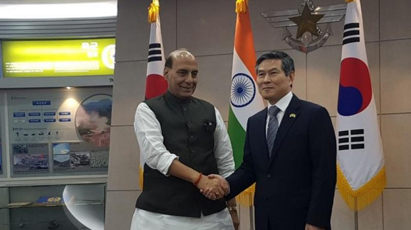 Singh is currently on a three-day visit to South Korea since Wednesday with an aim to intensify bilateral defence and security relations. (Photo: ANI)