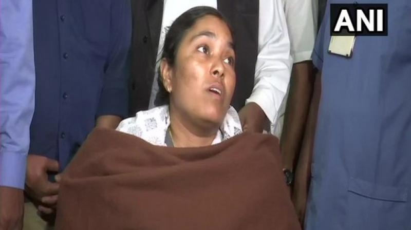 Two police officers were suspended and 14 people were arrested for allegedly attacking a team of forest officials in Sirpur-Kagaznagar area of Asifabad here on Sunday in which Anitha sustained injuries. (Photo: ANI)