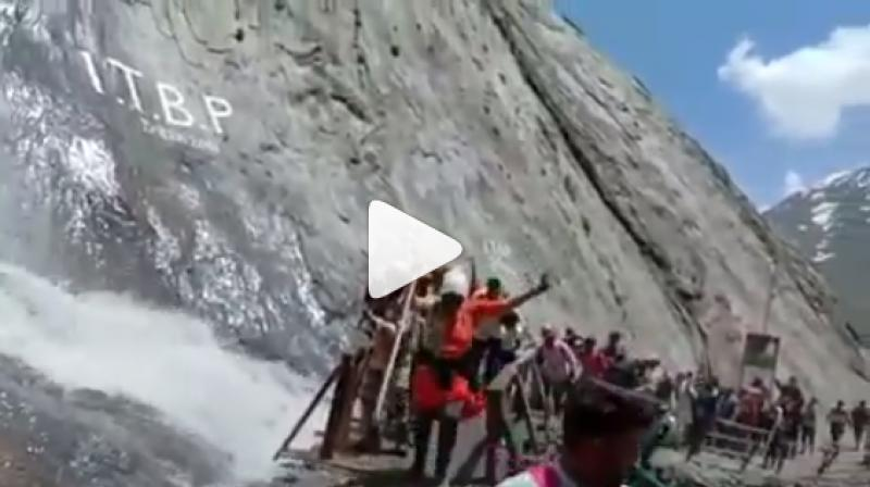 Situated at a height of 3,888 metres above sea-level, the Amarnath shrine houses an ice stalagmite structure that is believed to symbolise the mythical powers of Lord Shiva. (Photo: Instagram video screengrab | @itbp_official)
