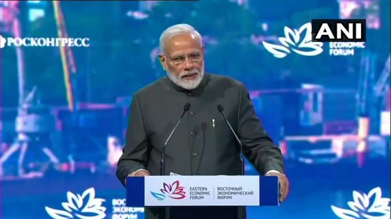 PM Modi addressing the Eastern Economic Forus in Vladivostok. (Photo: ANI)