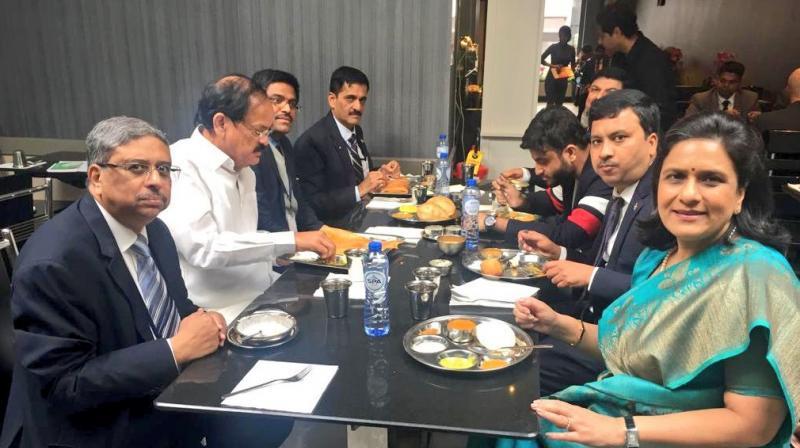 Vice President M Venkaiah Naidu dined at Saravana Bhavan, a popular south Indian restaurant in Brussels. (Photo: Twitter | @VPSecretariat)