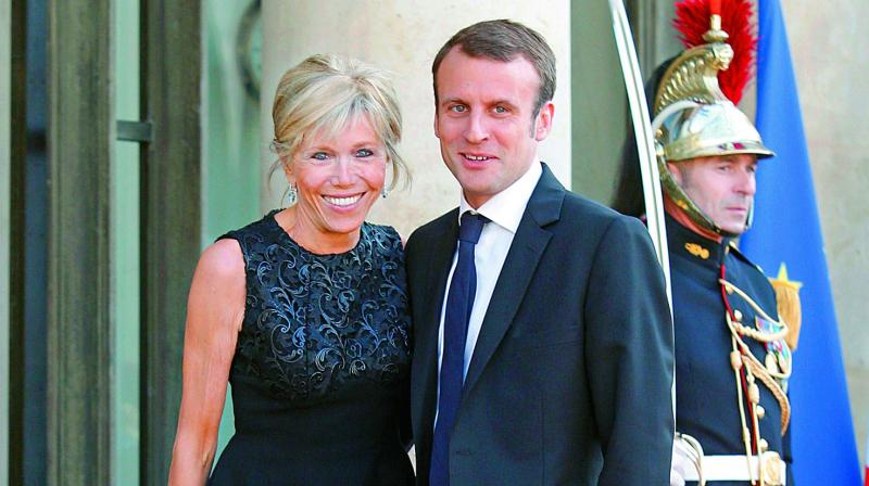 French President Emmanuel Macron with wife Brigitte Trogneux.