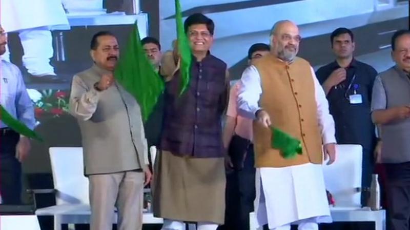Shah was accompanied by Union Railway Minister Piyush Goyal, Union Ministers Dr Jitendra Singh and Dr Harsh Vardhan. (Photo: ANI)
