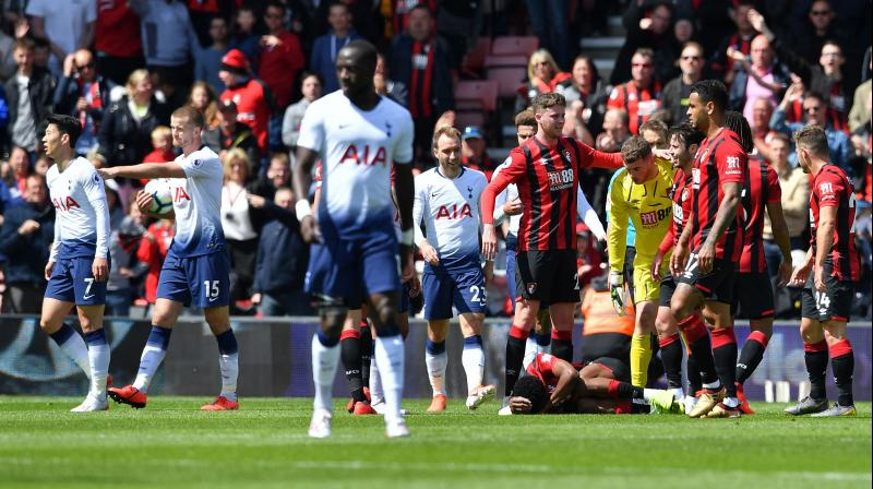 Son Heung-min was first to be sent off for pushing Jefferson Lerma just before halftime with Juan Foyth shown a straight red card for a studs-up tackle on Jack Simpson two minutes after coming on at the interval. (Photo: AFP)