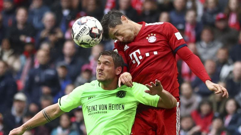 First half goals from Robert Lewandowski, his 22nd of the season in the Bundesliga, and Leon Goretzka put Bayern in control before Jonathas replied and veteran substitute Franck Ribery added Bayern's third near the end. (Photo: AP)