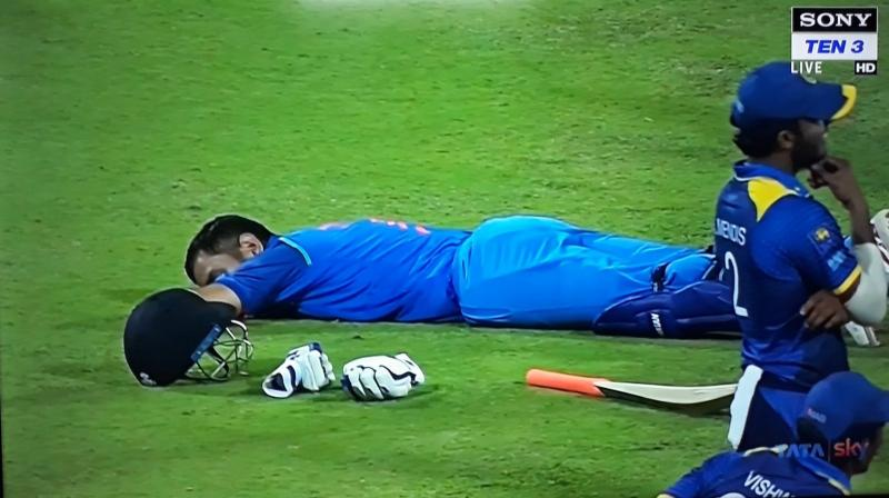 Dhoni  had it easy as he scored a fifty, his on-field nap, amidst the chaos at the Pallekele venue, once again highlighted why he is considered to be one of the coolest cricketers going around. (Photo: Twitter)