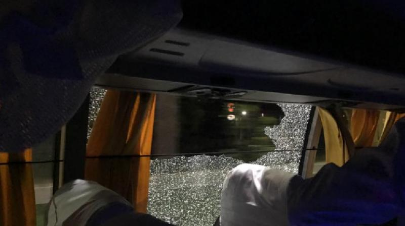 The Australian team were left in shock after their team bus was attacked with a stone in Guwahati. (Photo: Twitter)