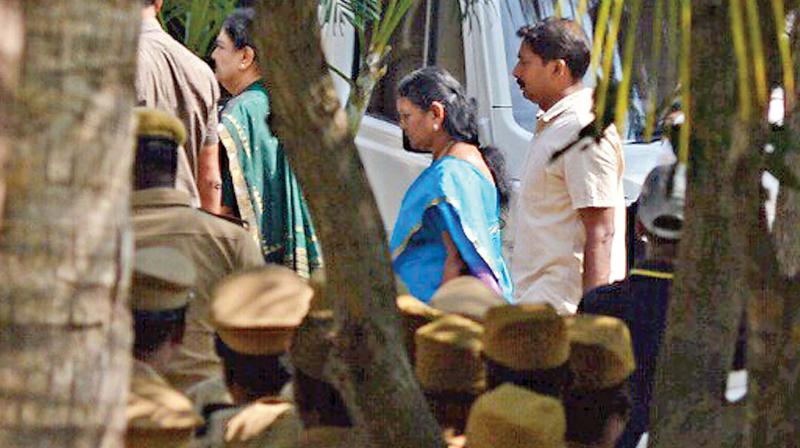 On the day of her conviction by Supreme Court, AIADMK leader V K Sasikala at  Koovathur resort on Tuesday evening. (Photo: DC)