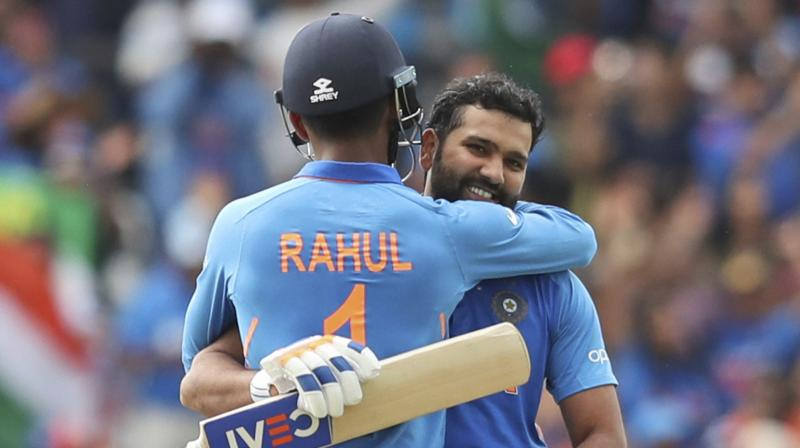 The stylish opener struck 103 against Sri Lanka in India's seven-wicket victory at Headingley, and that win, combined with Australia's defeat to South Africa, clinched top spot for India after the league stage.  Rohit's opening partner KL Rahul (111) also got in on the act, much to Bangar's delight. (Photo:AFP)