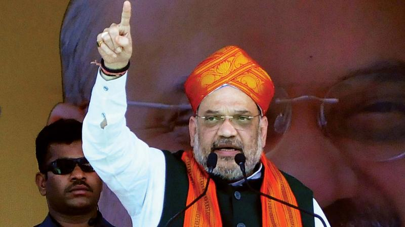 BJP national president Amit Shah addresses an election rally at Honnali in Davangere on Tuesday(Photo: KPN)