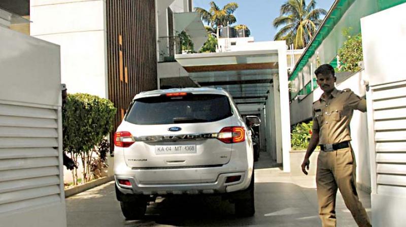 Actor Puneeth Rajkumar's home where income tax department officials conducted a raid at Sadashivanagar in Bengaluru  (Photo: KPN)