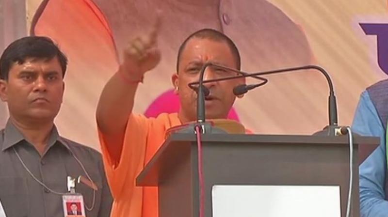 Uttar Pradesh Chief Minister Yogi Adityanath was addressing a rally at Solan. (Photo: ANI   Twitter)